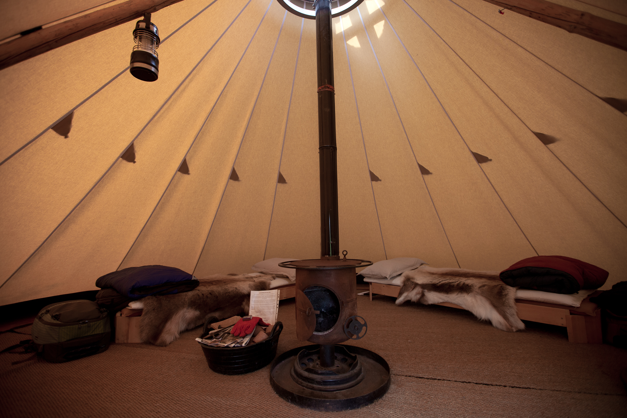 The inside of a teepee at Fforest Camp in Wales. By Leonie Wise