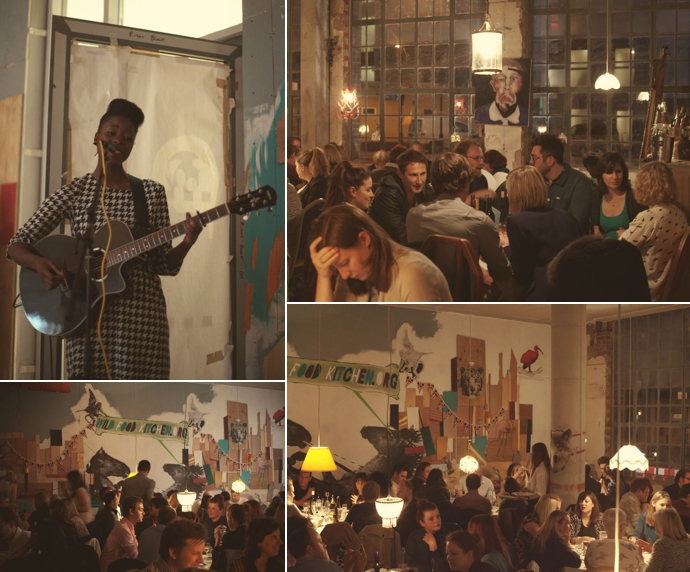 Singer & diners at the Wild Food Kitchen pop-up restaurant in Hackney. Photos (c) Leonie Wise