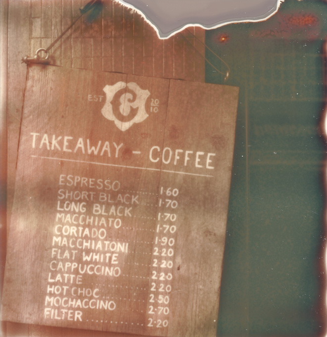 caravan takeaway coffee menu board. copyright leonie wise