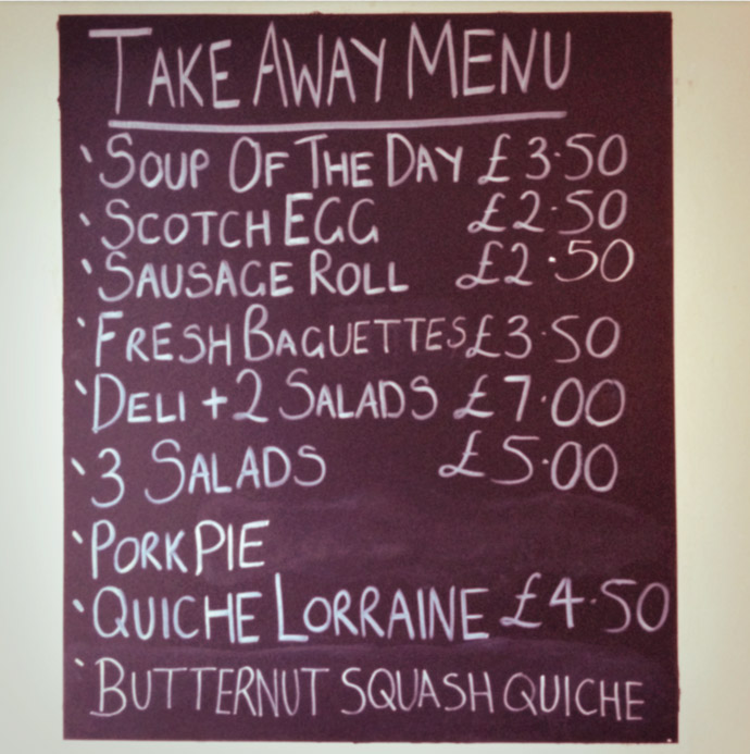 polaroid image of a take away menu board. copyright leonie wise