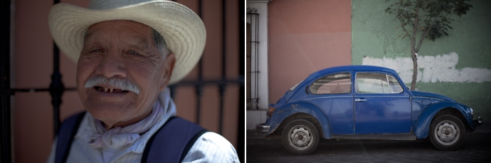 diptych of a man smiling and a vw beetle. copyright leonie wise