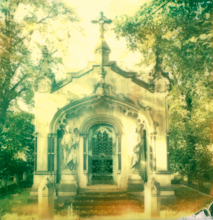 polaroid photograph of a crypt in brompton cemetery. copyright leonie wise