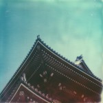 polaroid photograph of the roof of a pagoda in tokyo. copyright leonie wise. all rights reserved