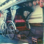 polaroid photograph of rickshaws, tokyo, japan. copyright leonie wise. all rights reserved