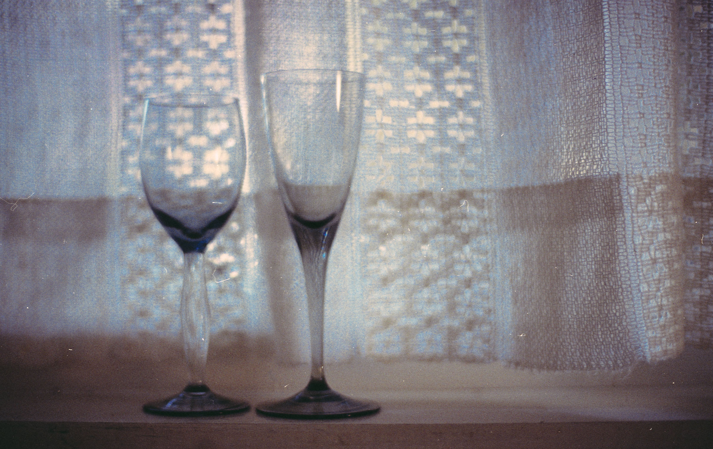 small glasses on a windowsill. copyright leonie wise