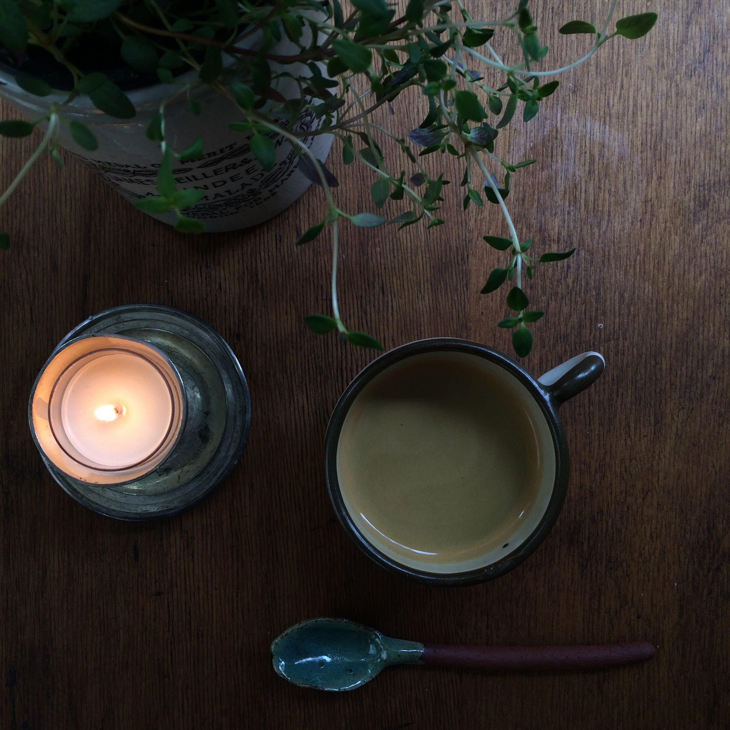 a quiet moment with coffee & candles
