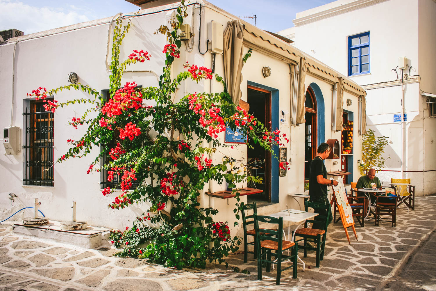 CAFE ON PAROS ISLAND. BY LEONIE WISE