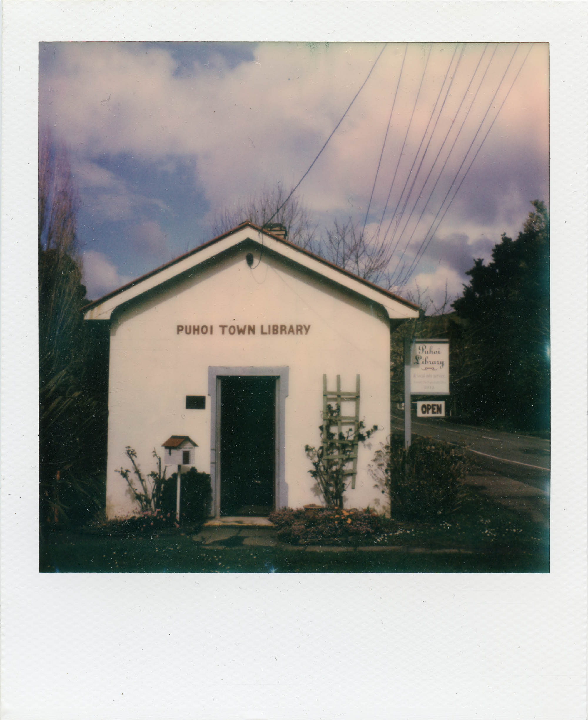 polaroid photograph of the puhoi town library (c) leonie wise