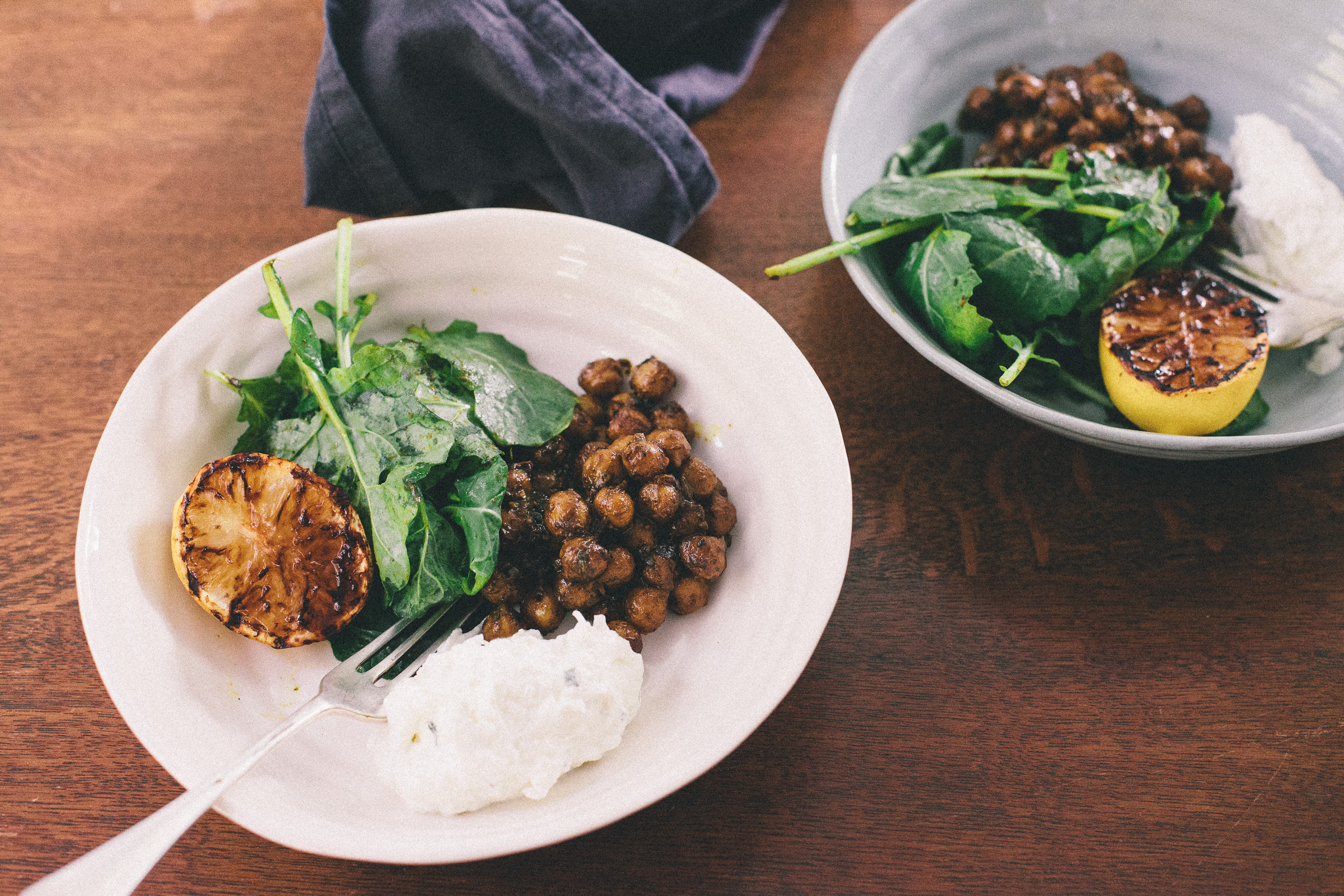 Turmeric chickpeas, kale, garlic yoghurt & burnt lemon. From the ducksoup cookbook. (c) Leonie Wise