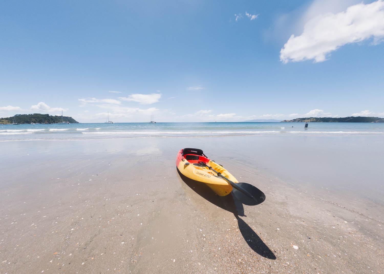 Kayak on the beach at Onetangi, Waiheke Island. © Leonie Wise
